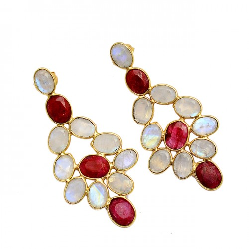Rainbow Moonstone Ruby Oval Shape Gemstone Gold Plated Stylish Stud Earrings