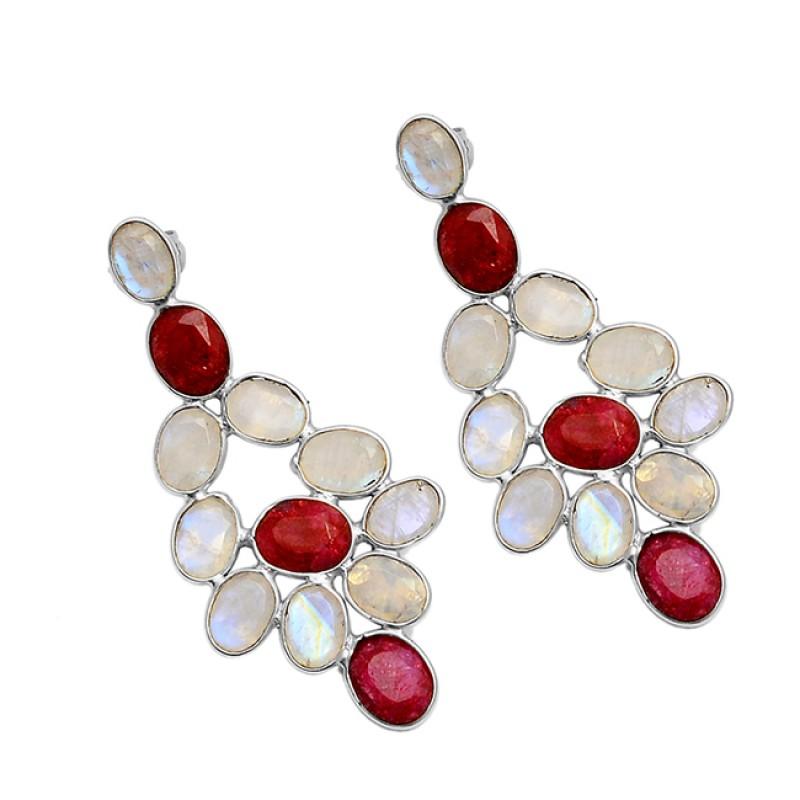 Rainbow Moonstone Ruby Oval Shape Gemstone Gold Plated Stylish Stud Earrings