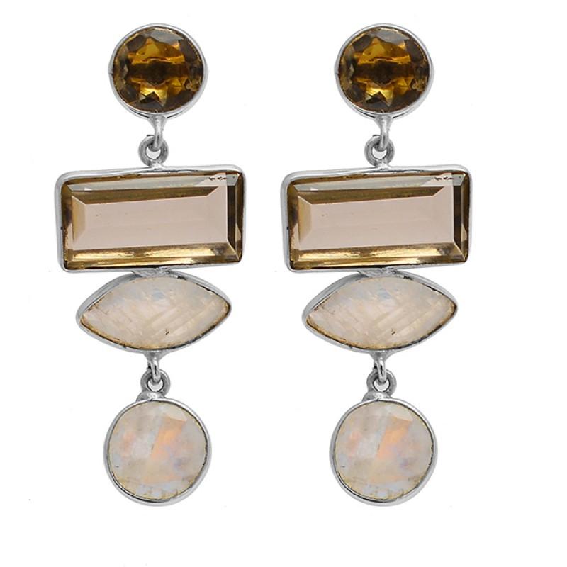 Smoky Quartz Moonstone 925 Sterling Silver Gold Plated Stud Dangle Earrings