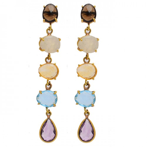 Prong Setting Multi Color Gemstone 925 Sterling Silver Gold Plated Dangle Stud Earrings