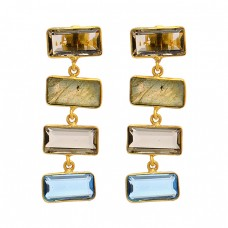 Rectangle Smoky Quartz Blue Topaz Labradorite Gemstone Gold Plated Dangle Earrings