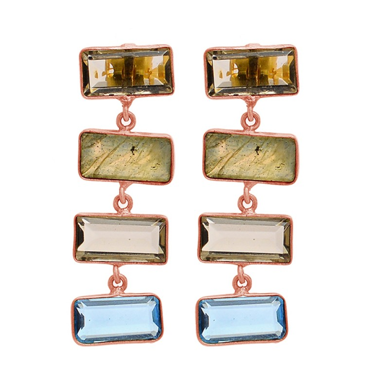 Rectangle Smoky Quartz Blue Topaz Labradorite Gemstone Gold Plated Dangle Earrings