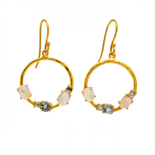 Unique Oval Round Shape Gemstone 925 Sterling Silver Gold Plated Dangle Earrings