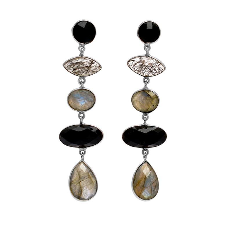 Bezel Setting Labradorite Black Onyx Rutile Quartz Gemtone Gold Plated Dangle Stud Earrings