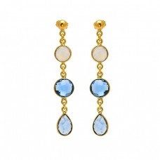 Briolette Pear Round Shape Gemtone Bezel Setting Chain Gold Plated Dangle Earrings