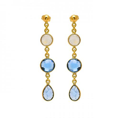 Briolette Pear Round Shape Gemtone Bezel Setting Chain Gold Plated Dangle Earrings