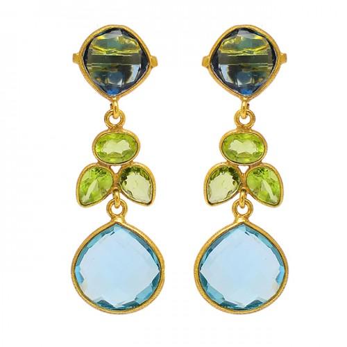 925 Sterling Silver Peridot Blue Topaz Gemstone Gold Plated Designer Stud Earrings