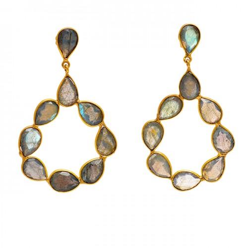 Bezel Setting Labradorite Pear Shape Gemstone 925 Silver Gold Plated Dangle Stud Earrings