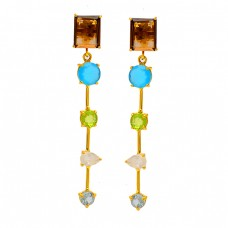 925 Sterling Silver Designer Multi Color Gemstone Gold Plated Stud Dangle Earrings
