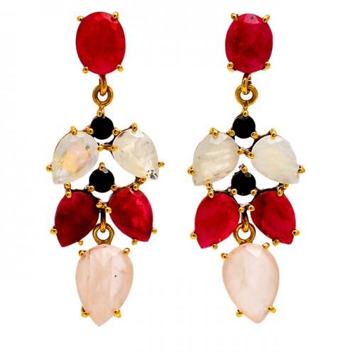 Moonstone Ruby Onyx Gemstone 925 Sterling Silver Gold Plated Stud Dangle Earrings