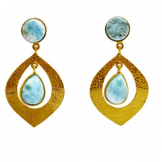 Round Pear Shape Larimar Gemstone 925 Sterling Silver Gold Plated Stud Dangle Earrings