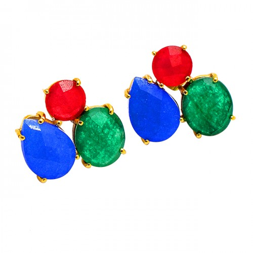 Ruby Chalcedony Emerald Gemstone 925 Sterling Silver Gold Plated Stud Earrings