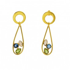 925 Sterling Silver Quartz Peridot Gemstone Gold Plated Designer Stud Earrings