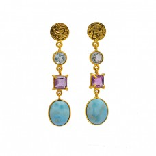 Topaz Amethyst Larimar Gemstone 925 Sterling Silver Gold Plated Stud Earrings