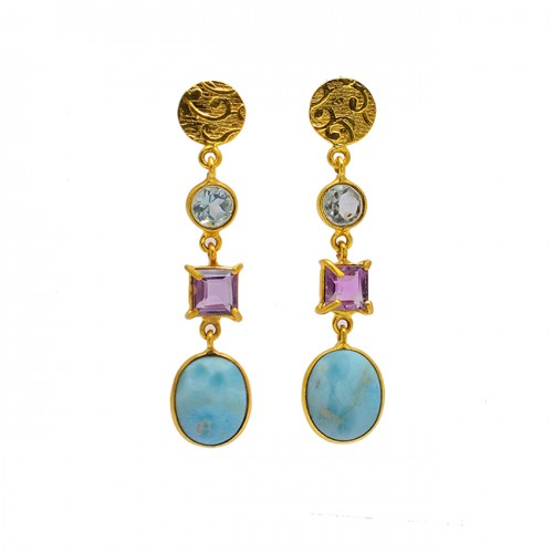Topaz Amethyst Larimar Gemstone 925 Sterling Silver Gold Plated Stud Earrings