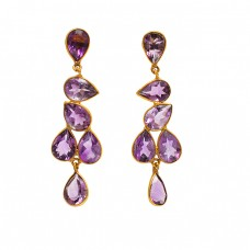 Faceted Pear Shape Amethyst Gemstone 925 Sterling Silver Gold Plated Stud Earrings