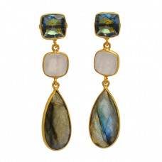 Bezel Setting Labradorite Moonstone 925 Sterling Silver Gold Plated Stud Earrings