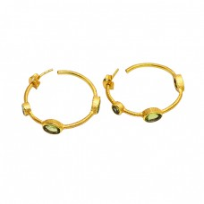 Oval Shape Peridot Gemstone 925 Sterling Silver Gold Plated Designer Hoop Earrings