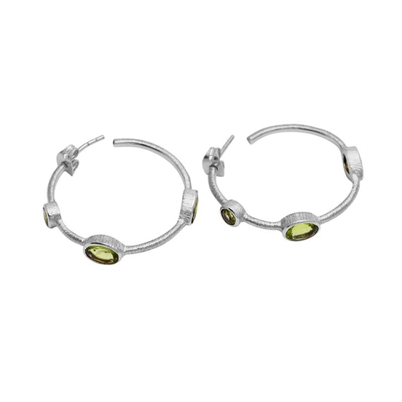 Oval Shape Peridot Gemstone 925 Sterling Silver Gold Plated Designer Hoop Earrings