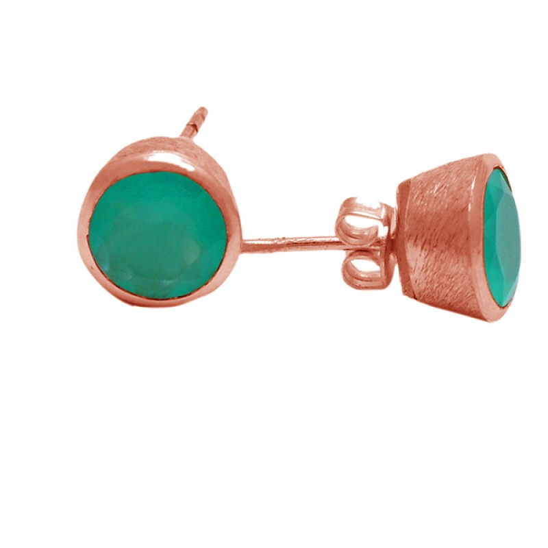 Aqua Color Chalcedony Gemstone 925 Sterling Silver Handmade Stud Earrings