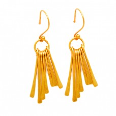 Latest Handmade Designer Plain 925 Sterling Silver Gold Plated Dangle Earrings