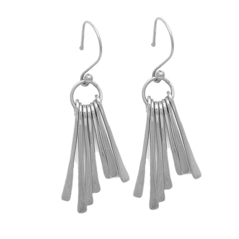 Latest Handmade Designer Plain 925 Sterling Silver Gold Plated Dangle Earrings