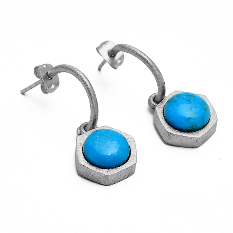 Round Cabochon Turquoise Gemstone 925 Sterling Silver Gold Plated Hoop Earrings