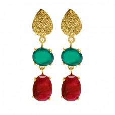 Green Onyx Ruby Gemstone 925 Sterling Silver Gold Plated Dangle Stud Earrings