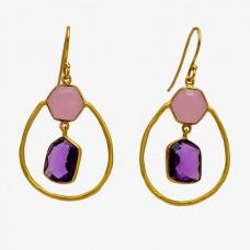Amethyst Chalcedony Gemstone 925 Sterling Silver Gold Plated Dangle Earrings