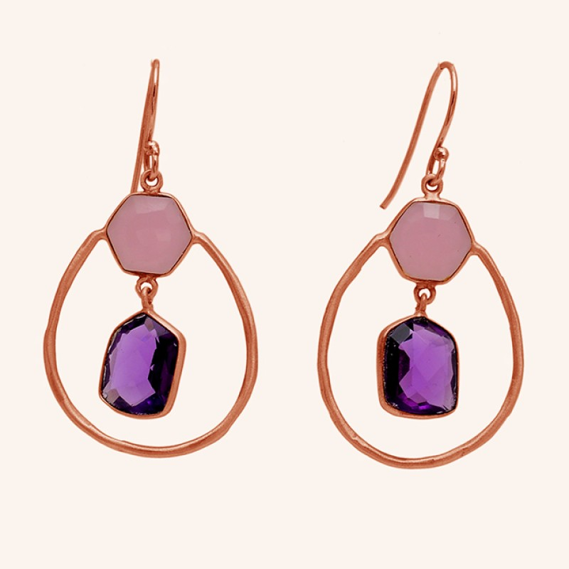 Amethyst Chalcedony Gemstone 925 Sterling Silver Gold Plated Dangle Earrings