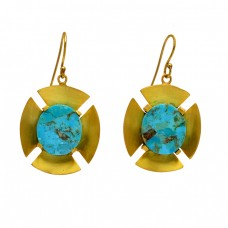 Oval Shape Turquoise Gemstone 925 Sterling Silver Gold Plated Dangle Earrings