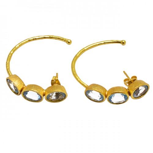 Oval Shape Blue Topaz Gemstone 925 Sterling Silver Gold Plated Hoop Earrings