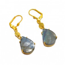 Labradorite Pear Shape Gemstone 925 Sterling Silver Gold Plated Clip-On Earrings