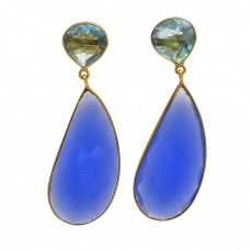 Blue Topaz Chalcedony Gemstone 925 Sterling Silver Gold Plated Stud Dangle Earrings