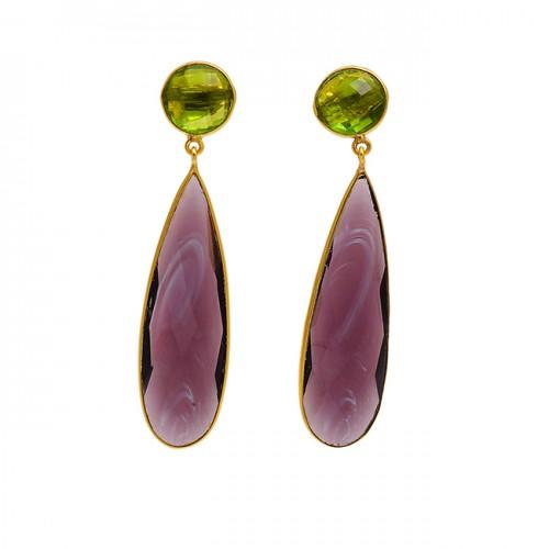925 Sterling Silver Peridot Quartz Gemstone Gold Plated Bezel Setting Earrings