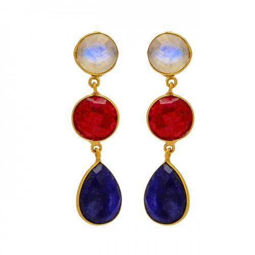 Moonstone Ruby Sapphire Gemstone 925 Sterling Silver Gold Plated Dangle Stud Earrings