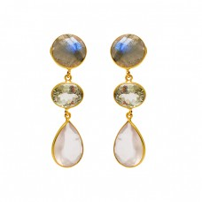 Labradorite Amethyst Moonstone 925 Sterling Silver Bezel Setting Gold Plated Earrings