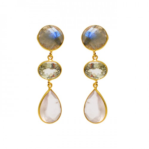 Labradorite Amethyst Moonstone 925 Sterling Silver Bezel Setting Gold Plated Earrings