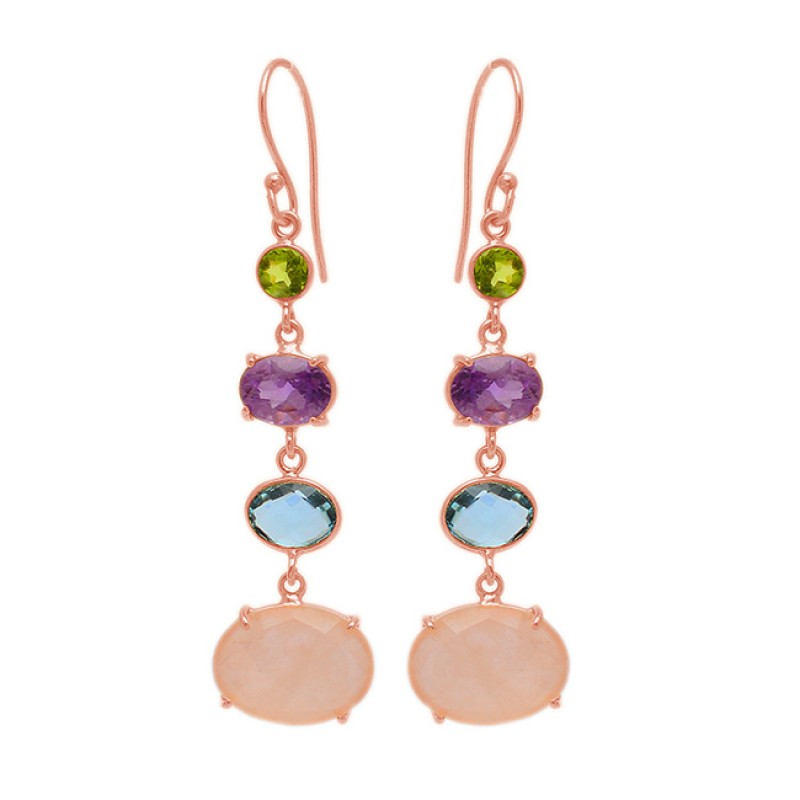 Prong Setting Multi Color Gemstone 925 Sterling Silver Gold Plated Dangle Earrings