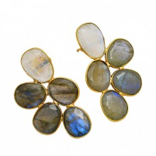 Labradorite Moonstone Oval Shape 925 Sterling Silver Gold Plated Stud Earrings