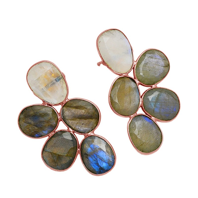 Labradorite Moonstone Oval Shape 925 Sterling Silver Gold Plated Stud Earrings