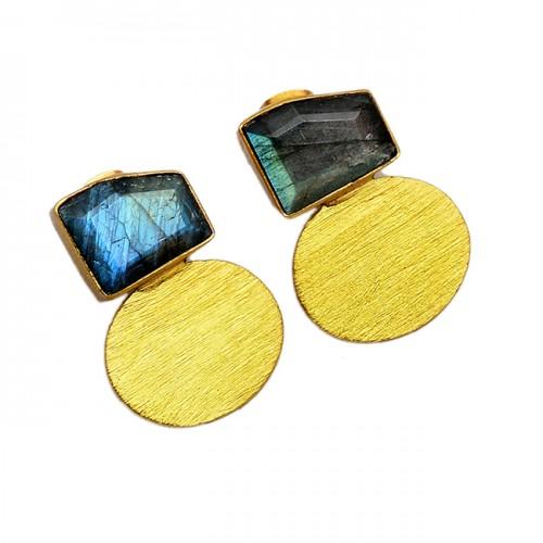 925 Sterling Silver Labradorite Fancy Shape Gemstone Gold Plated Stud Earrings