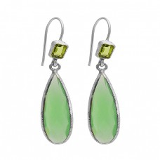 Peridot Chalcedony Gemstone 925 Sterling Silver Gold Plated Dangle Earrings