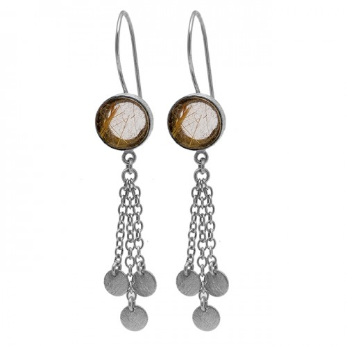 Round Shape Golden Rutile Quartz Gemstone 925 Sterling Silver Gold Plated Earrings