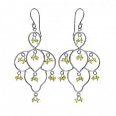Peridot Roundel Beads Shape Gemstone 925 Sterling Silver Gold Plated Dangle Earrings