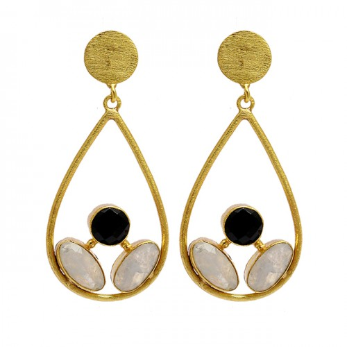 Black Onyx Moonstone 925 Sterling Silver Gold Plated Designer Stud Earrings