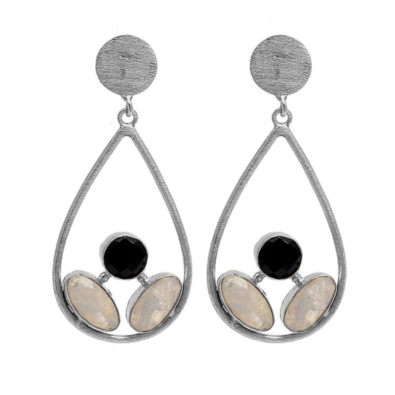 Black Onyx Moonstone 925 Sterling Silver Gold Plated Designer Stud Earrings