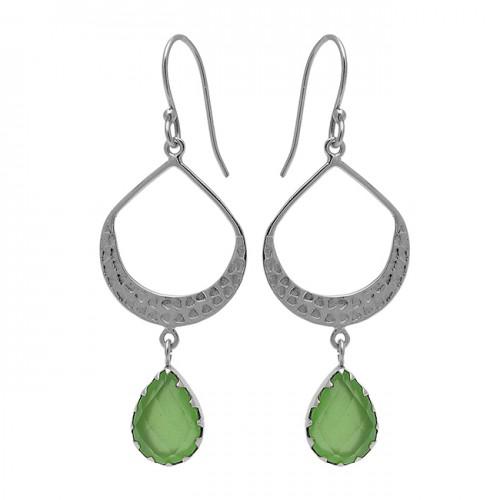 Pear Shape Chalcedony Gemstone 925 Sterling Silver Gold Plated Dangle Earrings