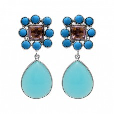 Turquoise Chalcedony Amethyst Gemstone 925 Silver Gold Plated Stud Dangle Earrings