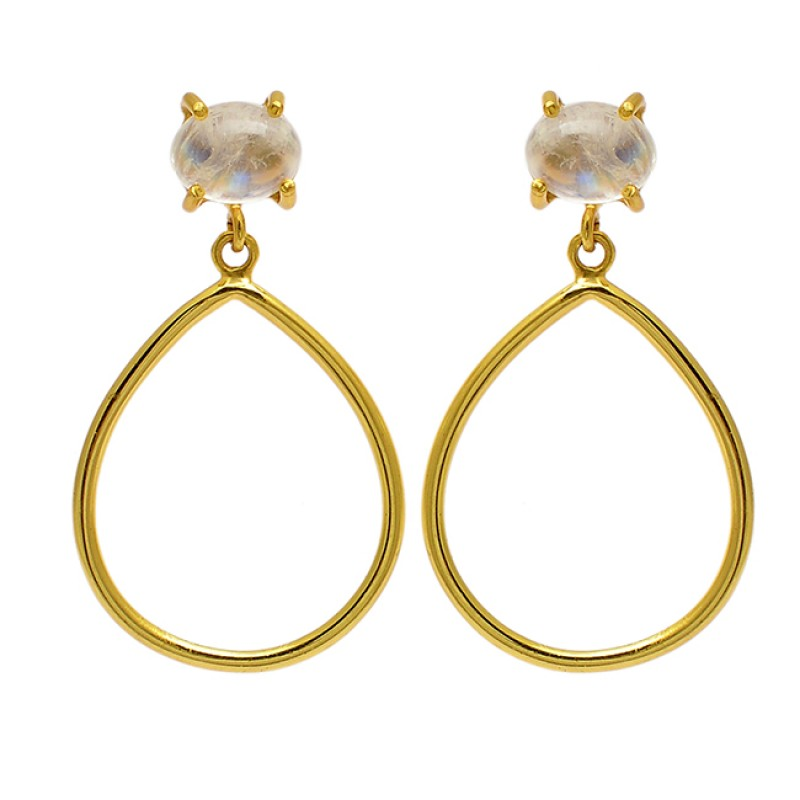 Oval Cabochon Moonstone 925 Sterling Silver Gold Plated Dangle Stud Earrings